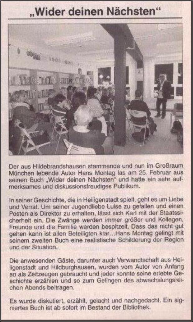 Erschienen im 'Stadtanzeiger Heiligenstadt' vom 03.2014